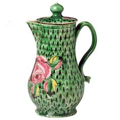 1stdibs | 18th Century Staffordshire pottery saltglaze jug and cover with green ground