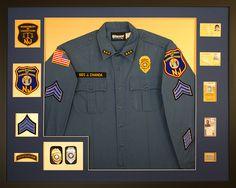 Depart of corrections uniform and badges. Patches and IDs were included in this retirement gift. Designed and custom framed at Art & Frame Express in Edison, NJ. www.MyFramingStore.com