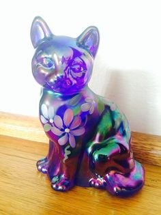 Iridescent Fenton Cat by RusticBrickRd on Etsy