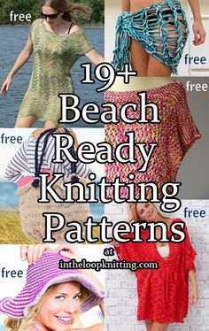 Knitting patterns for the beach including cover ups, hats, totes, bikinis, and more