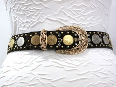 Rusty Spur Couture Wildfire Brown and Multi-Metallic Coins Belt - 9581, ,