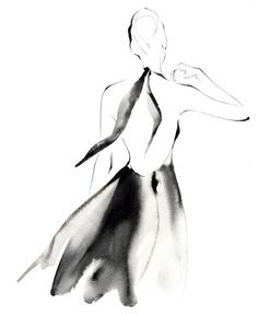 Watercolour fashion illustration - stylish black dress drawing // Yoco Nagamiya