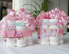 owl diaper cake for twins | Popular items for diaper centerpiece on Etsy
