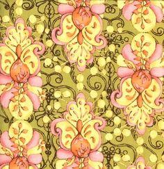Tina Givens Eclectic Layer fabric in Marigold Palace, Cloe's Imagination, 1 yard. Etsy.