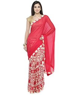 2752f2ec35 kvsfab Women's Georgette Saree Free Size Red & White kvsfab #saree #sari  #sareeshopping #sareesale #sareesusa #freeshipping #fashion #pink #chiffon  ...