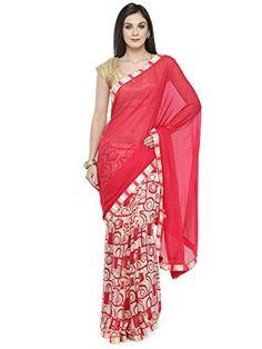 2752f2ec35 kvsfab Women's Georgette Saree Free Size Red & White kvsfab #saree #sari  #sareeshopping #sareesale #sareesusa #freeshipping #fashion #pink #chiffon  ...