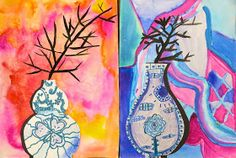 Cassie Stephens: In the Art Room: Ming Vase Still Life with Third Grade