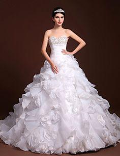 una línea de vestido de novia / princesa cariño tul palabra de longitud y satenes
