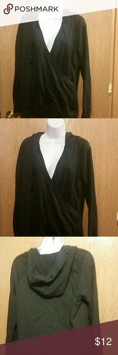 defae0ba502 Maurices size M Hoodie Pull over Hooded Sweatshirt dark gray with cross  over front Maurices brand