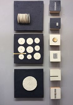Black and White and a Little Gold by Lori Katz: Ceramic Wall Sculpture available at www.artfulhome.com