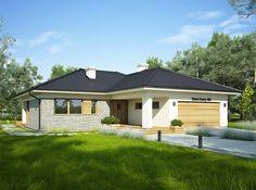 Projekt domu Oceania 114 m2 - koszt budowy 251 tys. zł - EXTRADOM Modern Bungalow House, Modern House Plans, One Story Homes, Stylish Bedroom, Architect House, Story House, Exterior Design, Sweet Home, Floor Plans