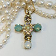 Mint Green Cross Swarovski Crystal Cross Pendant Mint Champagne Brown Cross Pendant Vintage Rhinestone Necklace,Gold,COTTON FIELDS GN28