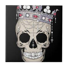 #Skull Bone Frame Halloween Horror Crown Ceramic Tile - #halloween #party #stuff #allhalloween All Hallows' Eve All Saints' Eve #Kids & #Adaults