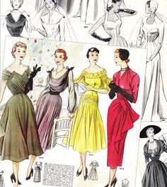 """Primerose"" Vol 1, 1950-1: gorgeous French pattern booklets – these catalogs advertised sewing patterns aimed at professional dressmakers. Pages include beautiful evening gowns, jaw-dropping wedding dresses, dresses for relaxing in the countryside, for whizzing around town, and more… Available for instant download (4 PDF files), from Esty."