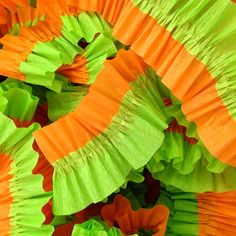 Green and Orange Ruffled Crepe Paper by CharmiosCraftParty on Etsy, $5.00