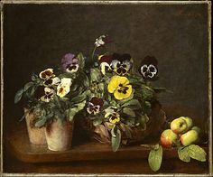 Still Life with Pansies, Henri Fantin-Latour  (Grenoble 1836–1904 Buré), 1874, Oil on canvas. The Metropolitan Museum of Art, NY.