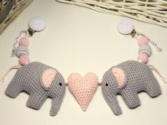 Elephant stroller toy crochet stroller mobile by PatiikCrochet