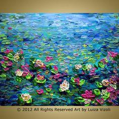 Original Modern Impressionist Oil Painting Water by LUIZAVIZOLI, $75.00