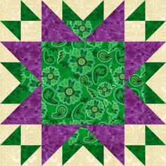 "Free Quilt Block Patterns, M through S: 16"" Oddfellows Chain Quilt Block Pattern"