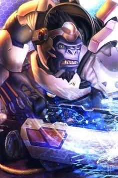 Overwatch - Winston by AIM-art on DeviantArt Warcraft Movie, World Of Warcraft, Video Game Art, Video Games, Pc Games, Overwatch Winston, League Of Legends, Chibi, Overwatch Wallpapers