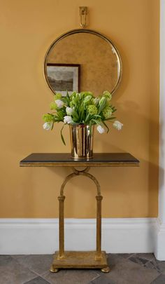 Soane Britain's Single Peristyle Table, Circular Hand Beaten Mirror and Champagne Bucket #Soane http://www.soane.co.uk/product/tables/the-single-peristyle-table