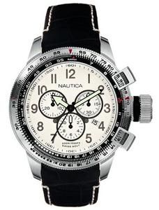 Nautica Men's A29505 WW Chronograph Black Leather Strap Watch