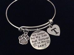 Meaningful Memorial to a Lost Pet.  No Longer by My Side but Forever in My Heart with Initial and Paw Print Charm securely attached to a Silver Plated Expandabl