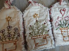 Hand Stitched Spring Hangtags Flower Pots by valleyprimitives