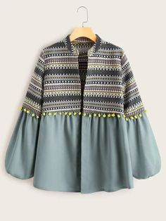 Check out this Aztec Print Pom Pom Detail Coat on Shein and explore more to meet your fashion needs! Indian Fashion Dresses, Dress Indian Style, Girls Fashion Clothes, Teen Fashion Outfits, Chic Outfits, Trendy Outfits, Jeans Fashion, Hijab Fashion, Stylish Dress Designs