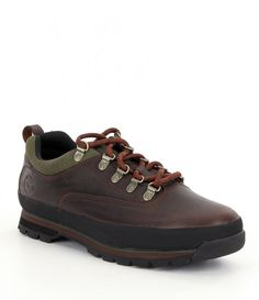 TIMBERLAND New Men's Euro Hiker Low Leather Hiking Boots Shoes Dark Brown 9 #Timberland #HikingTrail