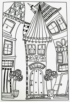 Whimsical houses coloring pages inspirational adult coloring pages - Whimsical houses coloring pages inspirational adult coloring pages # - House Colouring Pages, Coloring Book Pages, Coloring Sheets, Zentangle Patterns, Embroidery Patterns, Art Fantaisiste, Doodles, Printable Adult Coloring Pages, House Quilts