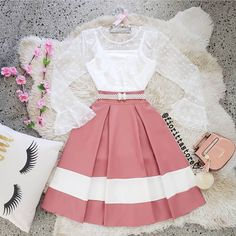 Cute tween two pics top and skirt A liss top with a pink and Wight style skirt Girls Fashion Clothes, Teen Fashion Outfits, Girly Outfits, Cute Casual Outfits, Cute Fashion, Pretty Outfits, Pretty Dresses, Stylish Outfits, Beautiful Dresses