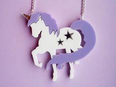 Lilac unicorn necklace