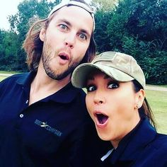 It's Friday! #fallbackfriday Taylor with Leeann Tweeden at a Lone Survivor golf outing. #taylorkitsch #lonesurvivor #texasforever