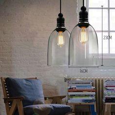 Retro Industrial DIY Ceiling Lamp Light Glass Pendant Lighting Edison Bulb BIG #Vintage