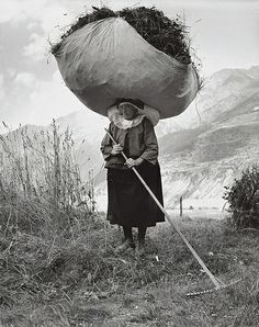 Haying in Cogne, 1959 Pepi Merisio vintage photography, vintage photos, retro photography vintage, black and white photography vintage Photos Du, Great Photos, Old Photos, Black White Photos, Black And White Photography, Photocollage, Vintage Photographs, People Around The World, Old Pictures
