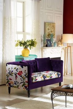 Purple Flower Upholstered Loveseat by Wholesale Interiors on Living Room Designs, Living Rooms, Queen, Purple Flowers, Love Seat, Furniture Design, New Homes, Interior Design, Chair