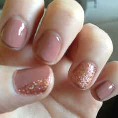 Love the neutral nail with a splash of sparkle!