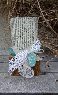Windlicht mit Holzsockel