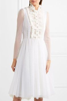 White polka-dot tulle and lace Concealed zip fastening along back 100% polyamide; lining: 100% polyester  Dry clean