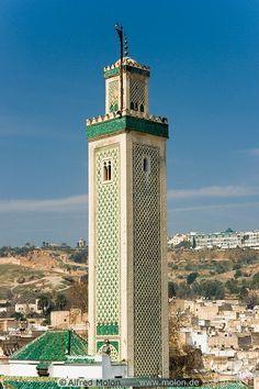 Kairaouin Mosque minaret, Fez, Morocco.