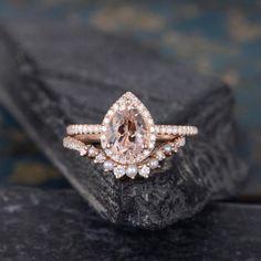 Pearl Morganite Engagement Ring Set Rose Gold Bridal Set | Etsy