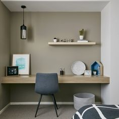 room inspo built in study nook in metricon display home floating office desk Orchid Flowers Basics O Desk Nook, Office Nook, Home Office Space, Home Office Desks, Desk On Wall, Corner Office Desk, Office Setup, Study Office, Office Ideas