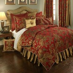luxury bedding collection in red and gold, the Austin Horn Verona bed set will transform your bedroom into an elegant, opulent and luxurious getaway. Austin Horn is renowned for its use of color, fabric and texture. Gold Bed, Comforter Sets, Bed Design, Red Bedding, Bed Linens Luxury, Remodel Bedroom, Luxury Bedding, Luxury Duvet Sets, Luxury Comforter Sets