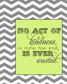 No act of Kindness no mater how small, is ever wasted.