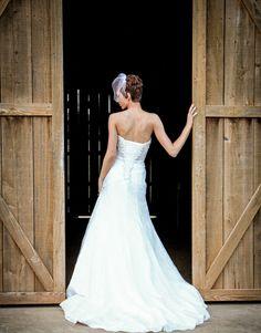 Lace wedding dress with barn doors