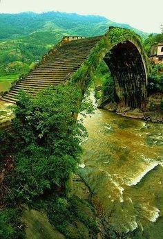 Ming Dinasty - Moon Bridge - Hunan, China
