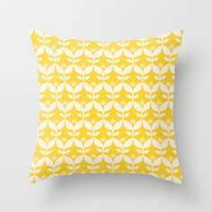 Throw Pillow made from 100% spun polyester poplin fabric, a stylish statement that will liven up any room. Individually cut and sewn by hand, each pillow features a double-sided print and is finished with a concealed zipper for ease of care.  Sold with or without faux down pillow insert. #homedecor #retro #floral #tulip #yellow #sunny #popular #happy #summer #forher
