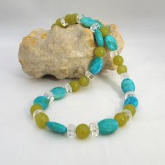 Turquoise and Green Gemstone Necklace