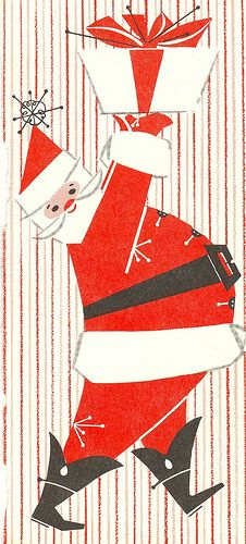 vintage Retro Christmas card ~ Santa hoisting it high..hey!